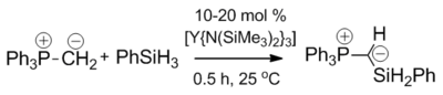 Yttrium catalysed dehydrocoupling of triphenylphosphonium methylide and phenylsilane.