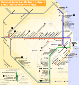 Map of the Chennai suburban railway network an...