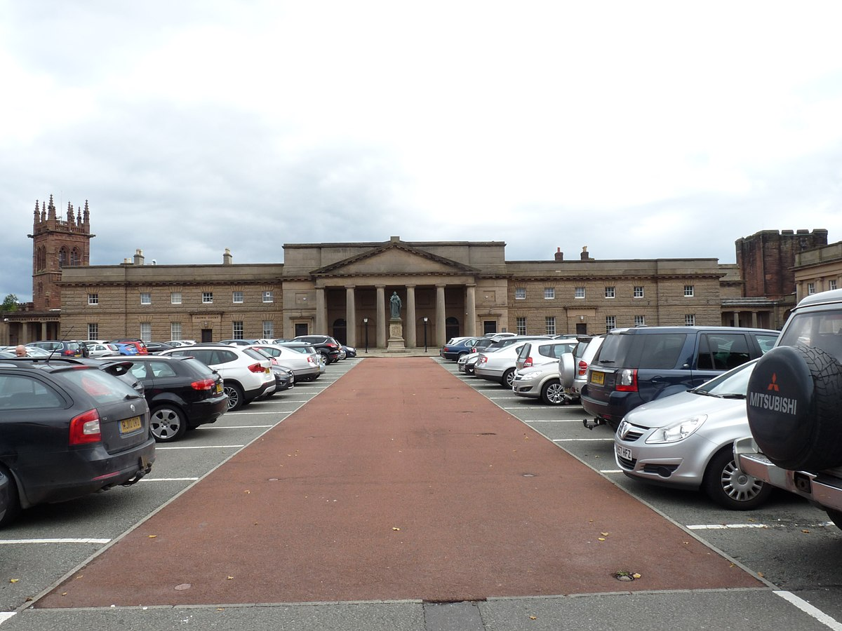 Chester Castle - outer bailey and Chester Crown Court building 01.jpg