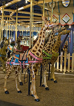 Broad Ripple Park Carousel - A row of giraffes was always part of one of Dentzel's carousels, as they were his favorite animal.
