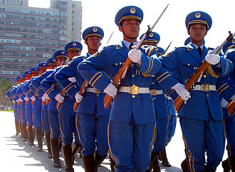 People's Liberation Army Air Force - PLAAF airmen on parade during a full honors arrival ceremony in 2000.