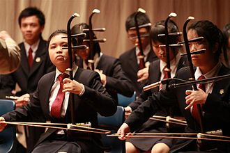 Chinese orchestra - Erhu players in the bow strings section of a Chinese orchestra