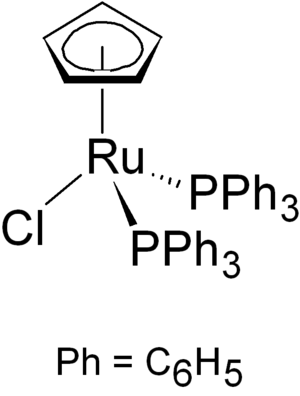 Organoruthenium chemistry - Image: Chloro(cyclopentadie nyl)bis(triphenylpho sphine)ruthenium