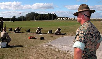Marine Corps Recruit Depot Parris Island - Marine recruits learning basic marksmanship on the Chosin Range