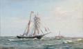 Christian Benjamin Olsen - Marine med to-mastet skonnert og et fyrskib.png