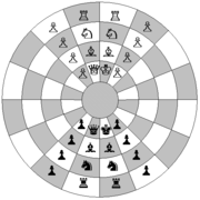 Representation of the starting position for modern circular chess