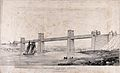 Civil engineering; the Menai box girder bridge. Lithograph b Wellcome V0024348.jpg