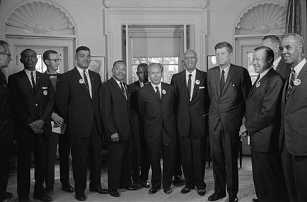 Following the March on Washington for Jobs and Freedom, on August 28, 1963, civil rights leaders meet with President Kennedy and Vice President Johnson to discuss civil rights legislation Civil rights leaders meet with President John F. Kennedy2.jpg