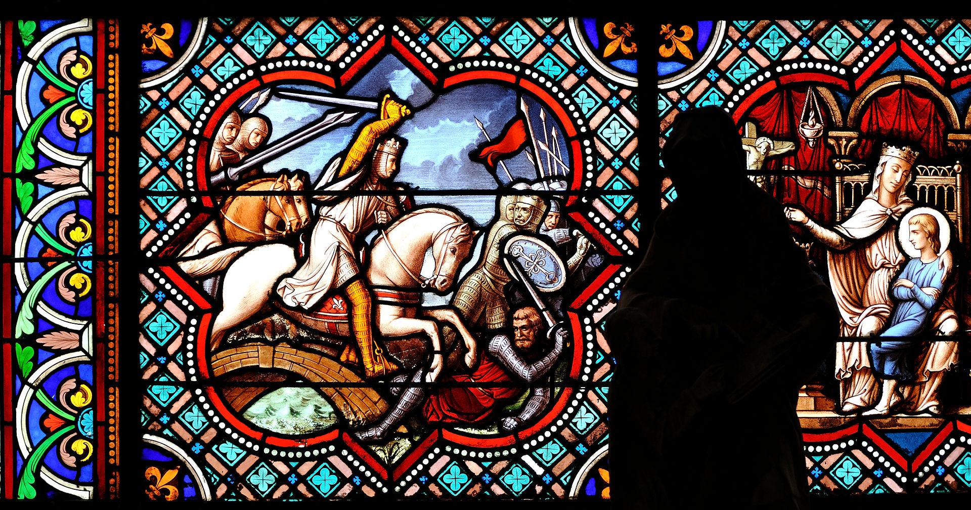 Détail du vitrail de la chapelle Saint-Louis, dans la cathédrale Notre-Dame de Senlis, réalisé en 1863 par Claudius Lavergne.  (définition réelle 3770×1980)