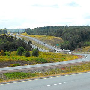 Cobequid Pass - View of Cobequid Pass taken from KM 83 facing west toward the crossing over the Great Village River at Lornevale