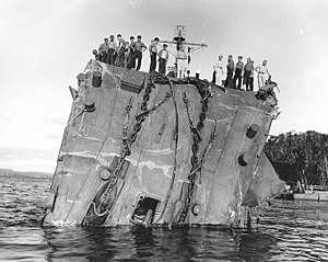 USS Honolulu (CL-48) - Image: Collapsed bow of USS Honolulu (CL 48) on 20 July 1943, after she was torpedoed in the Battle of Kolombangara (80 G 259422)