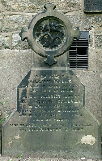 Robert Collyer - Gravestone of Collyer's wife and daughter, at Ilkley parish church