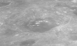 Colombo (crater) - Oblique view of Colombo crater, facing south, from Apollo 16