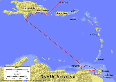 Voyages of Christopher Columbus - Wikipedia on bartolomeu dias, columbus journey map, jacques marquette map, jacques cartier map, william shakespeare, james cook, francisco coronado map, world map, sir francis drake map, marco polo, columbus day, columbus 1492 voyage map, jacques cartier, samuel de champlain, henry hudson map, henry 8 map, john cabot map, ferdinand magellan, vasco da gama, columbian exchange, atlantic ocean map, john cabot, michael jackson map, galileo galilei, columbus trips map, spain map, james i of england map, henry hudson, francis drake, juan ponce de leon map, amerigo vespucci, hernando de soto, samuel de champlain map, ferdinand magellan map, william smith's map, marco polo map,