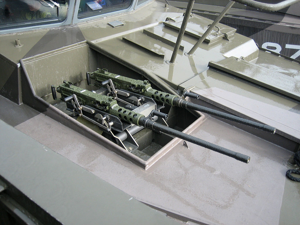 Two .50 cal heavy machine guns seen here in front of the helmsman's position