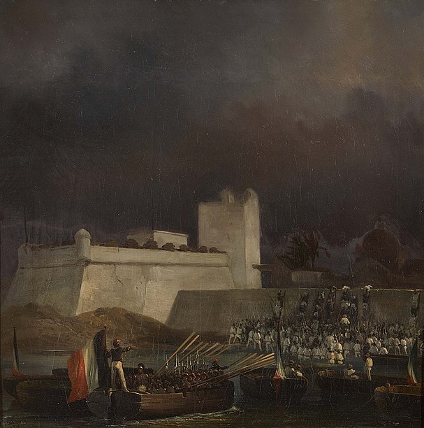 Fichier:Combat de Vera Cruz debarquement et escalade des murs du fort 1838.jpg