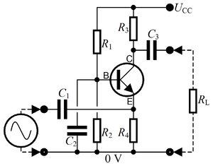 Electronic circuit - A circuit diagram representing an analog circuit, in this case a simple amplifier