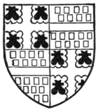 Fig. 552.—Arms of Henry Bourchier, Earl of Essex, K.G.: Quarterly, 1 and 4, argent, a cross engrailed gules, between four water-bougets sable (for Bourchier); 2 and 3, gules, billetté or, a fess argent (for Louvain). (From his seal.)