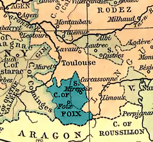 County of Foix - County of Foix in 1328 (Béarn is outside of the map).