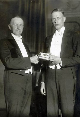 Hubbard Medal - Charles Lindbergh receives his medal from President Calvin Coolidge