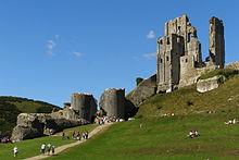 as ruínas do castelo de Corfe