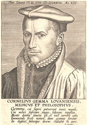 "Cornelius Gemma - Cornelius Gemma of Leuven, identified as medicus et philosophus, ""physician and philosopher"""