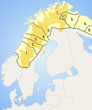 Sápmi - Map of Saamic language areas (see text for explanation of numbers)