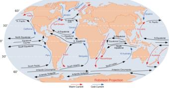 Схема основных океанических течений