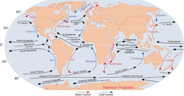 Rappresentazione delle principali correnti oceaniche.