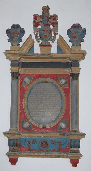 Knowstone - Mural monument in Meshaw Church to James Courtenay (d.1683) of Meshaw House