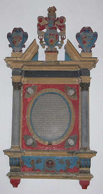 Meshaw - Mural monument to James Courtenay (d.1683) of Meshaw House