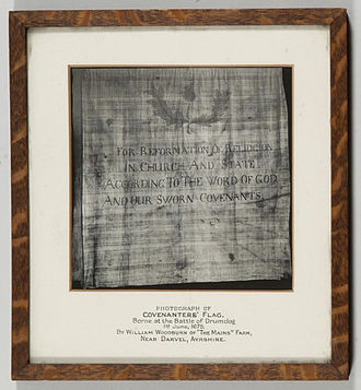 Battle of Drumclog - Photograph of the Covenanters' Flag carried into the Battle of Drumclog on 1 June 1679, by William Woodburn