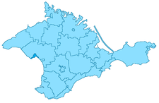 Position of Eupatoria on the map of Crimea, Ukraine.