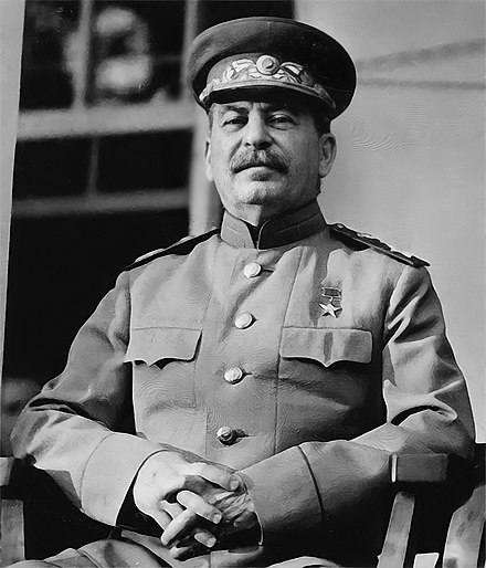 Joseph Stalin led the Soviet Union during World War II. CroppedStalin1943.jpg