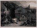 Crowds of people are gathered together outside their cottage Wellcome V0040565.jpg