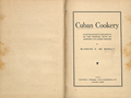 Cuban Cookery 1931 by Blanche Zacharie de Baralt title page.png