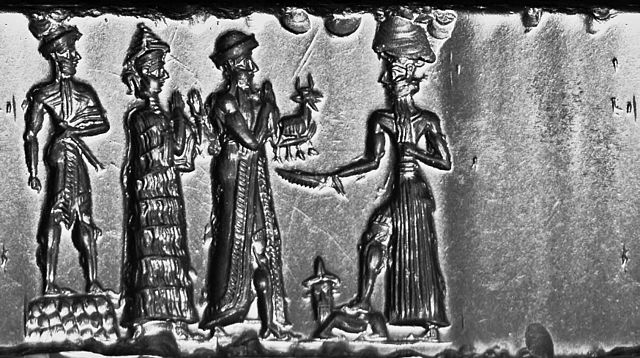 Cylinder Seal, Old Babylonian Period, c.1800 BC, hematite. The king makes an animal offering to Shamash. This seal was probably made in a workshop at Sippar. Cylinder Seal, Old Babylonian, formerly in the Charterhouse Collection 09.jpg