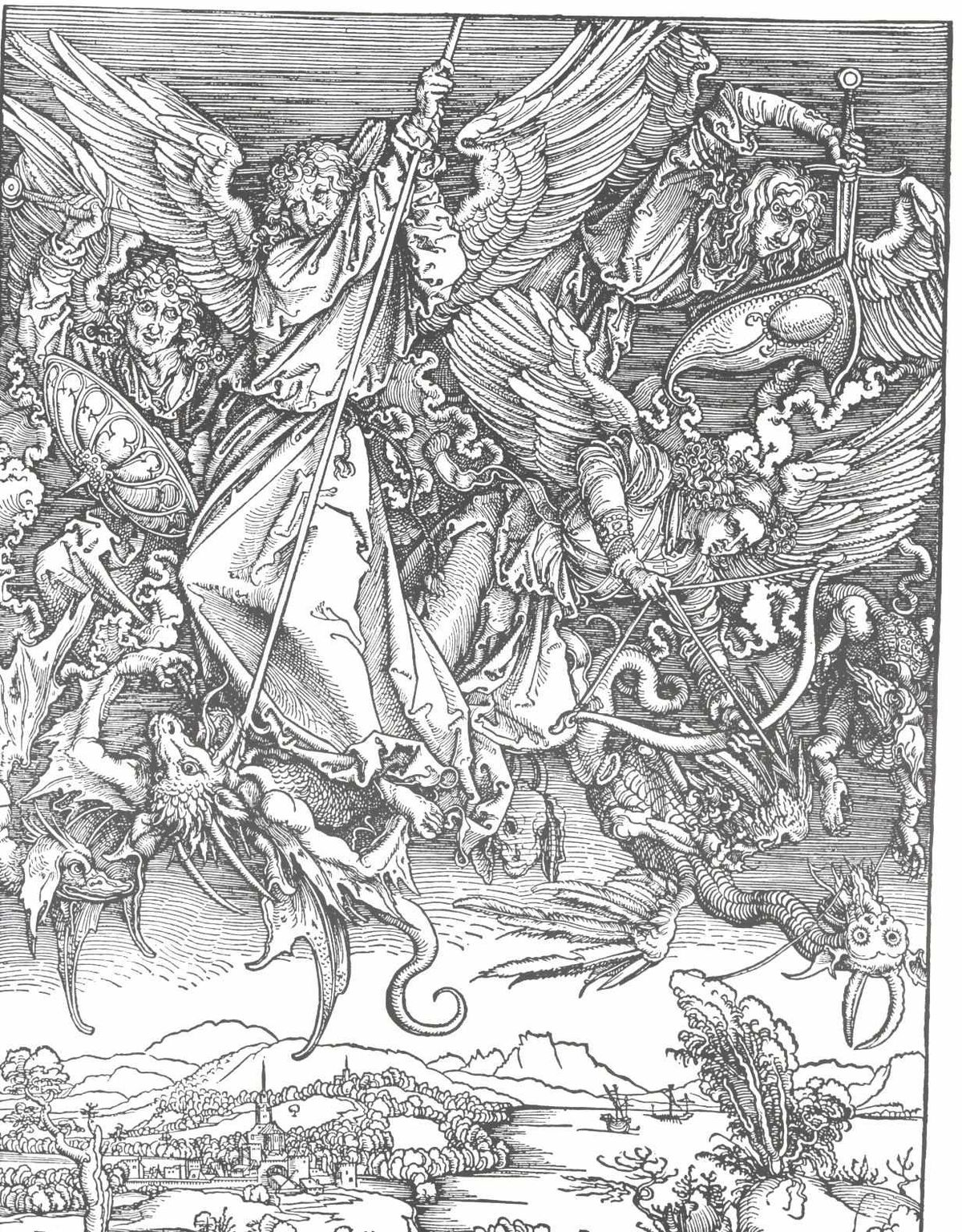 Saint michael fighting the dragon wikipedia for Battle between heaven and hell tattoo