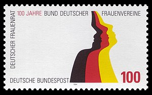 Bund Deutscher Frauenvereine - Commemorative stamp issued in 1994 by the German government to mark the centenary of the founding of the BDF (Federation of German Women's Associations)