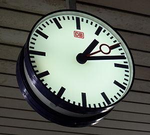 DB Netze - Station clock at Basel Badischer Bahnhof, which, although located in Basel, Switzerland, is owned by DB.