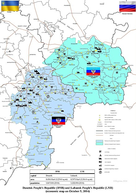 Donetsk and Luhansk People's Republics (October 2014) DPR LPR en.jpg