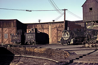 Denver and Rio Grande Western Railroad - DRGW Alamosa Roundhouse, June 1967.