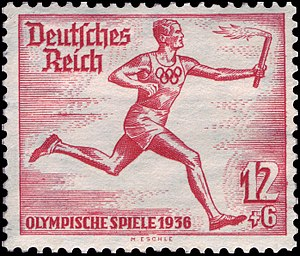 1936 Summer Olympics torch relay - 1936 Summer Olympics torch relay on a German stamp
