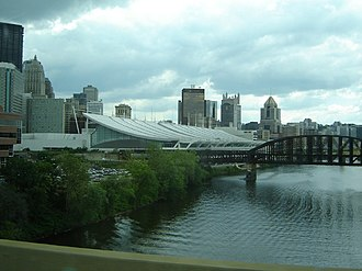 Culture of Pittsburgh - David L. Lawrence Convention Center, as viewed from I-579 bridge.