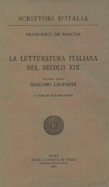 File:De Sanctis, Francesco – Giacomo Leopardi, 1961 – BEIC 1800379.djvu