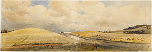 Hertfordshire - Peter de Wint, Cornfields near Tring Station, Hertfordshire, 1847, Princeton University Art Museum