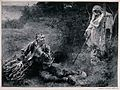 Death and the woodcutter. Reproduction of a wood engraving b Wellcome V0042240.jpg