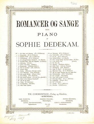 Sophie Dedekam -  alt=Scan of front cover of Dedekam score