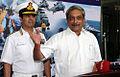 Defence Manohar Parrikar addresses the media during the Naval Commanders' Conference 2015.JPG