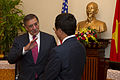 Defense.gov News Photo 120604-D-BW835-998 - Secretary of Defense Leon E. Panetta speaks with Vietnamese Minister of Foreign Affairs Pham Binh Minh in Hanoi Vietnam on June 4 2012. Panetta is.jpg